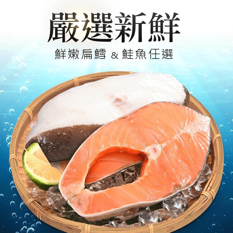 嚴選鮮嫩美味大比目魚(扁鱈)/鮭魚