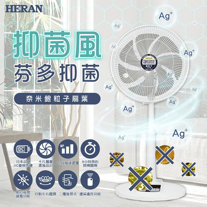 【HERAN 禾聯】14吋DC變頻奈米銀抑菌電風扇 (HDF-14AH73G)