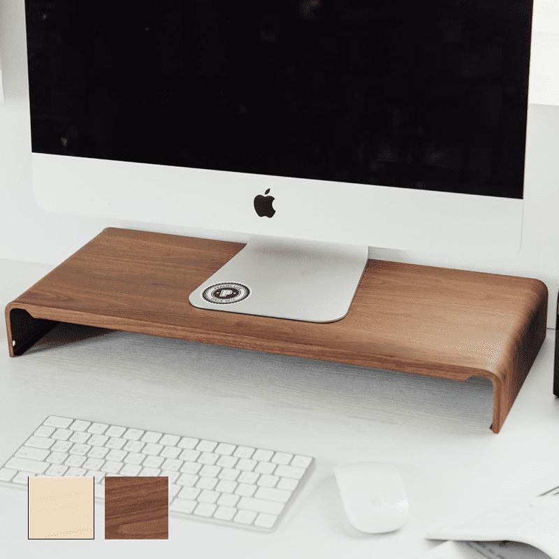 日系高質感木紋鋼製LCD螢幕架/桌上架 (二色可選)