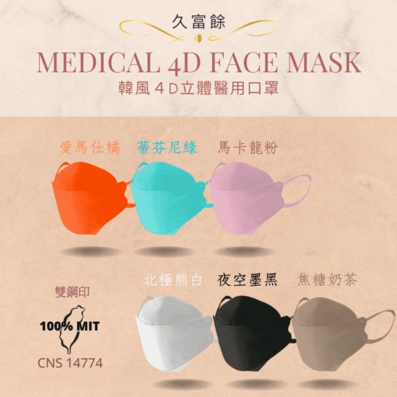 【久富餘】KF94韓版4層立體醫療口罩-雙鋼印 10片/盒 墨黑/粉/奶茶/綠