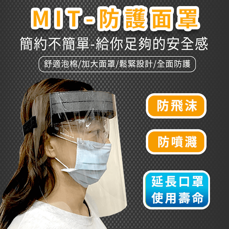【MIT】防飛沫 防護面罩 黑(全面防疫│重複使用│泡棉設計│疫情│可調整│台灣