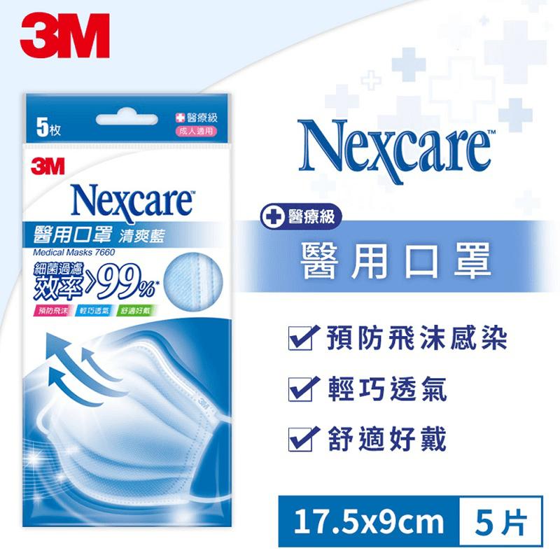 3M  成人醫療級口罩(粉藍) 細菌過濾效率大於99%