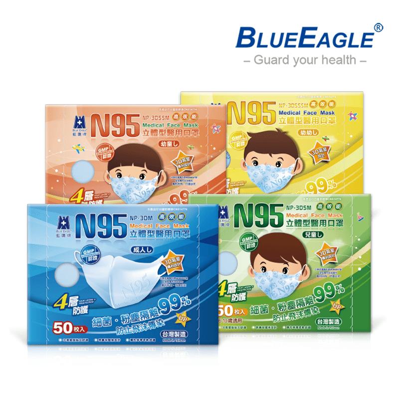 【藍鷹牌】台灣製立體型醫用口罩 (成人/兒童/幼童/幼幼)
