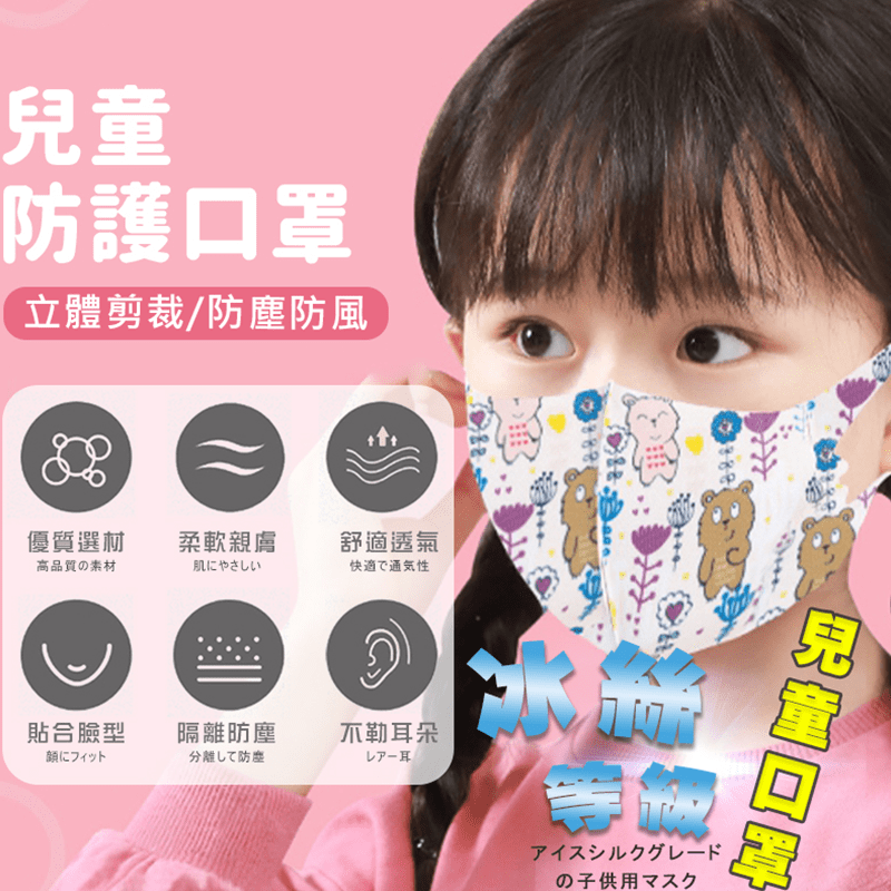 兒童大童用高密合可水洗重複使用印花超薄冰絲防塵3D口罩