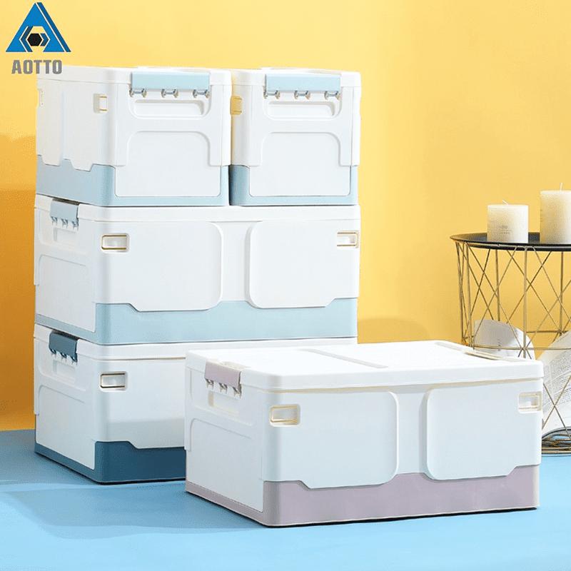 【AOTTO】21L/42L輕巧簡約摺疊收納箱-特大號4入(整理箱 儲物箱 玩具