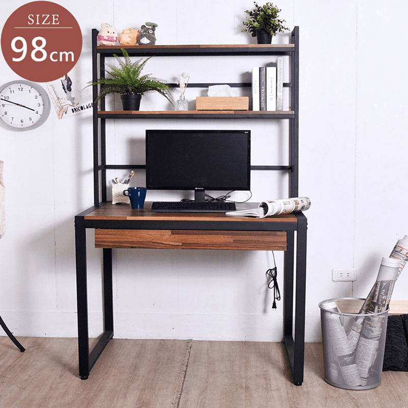 【凱堡】拼木98cm電腦桌+三層架