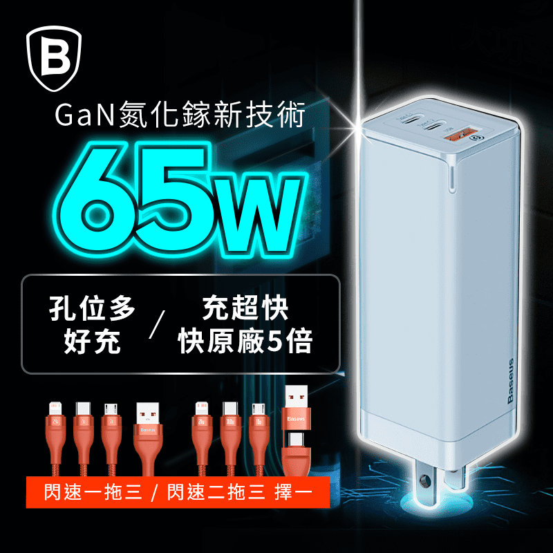【BASEUS】倍思迷你65W GaN氮化鎵3孔快充充電頭/充電器