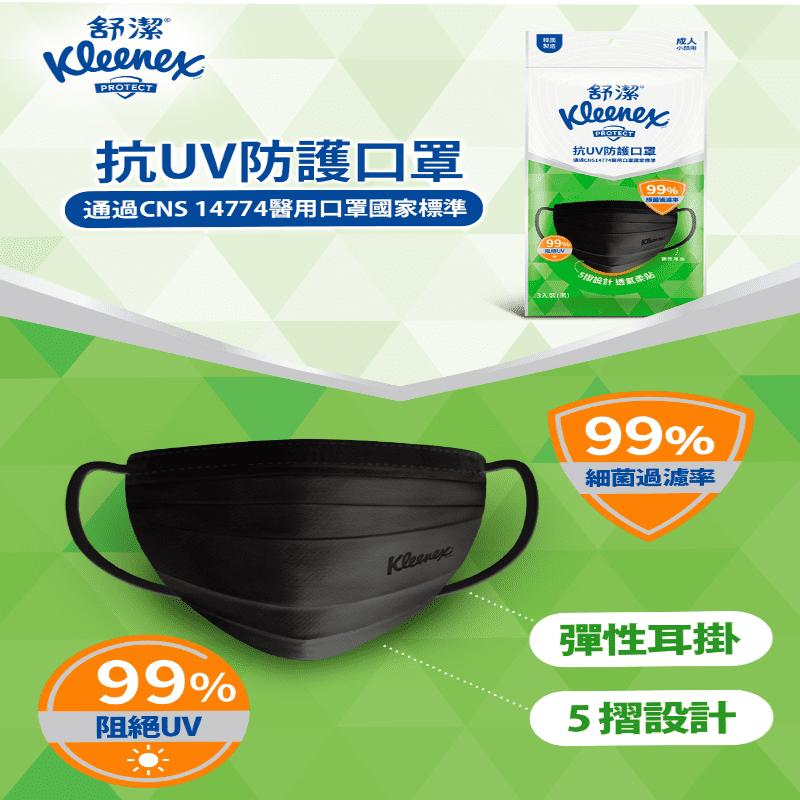 Kleenex 舒潔 抗UV防護口罩 成人口罩 黑色款 (3入/包)