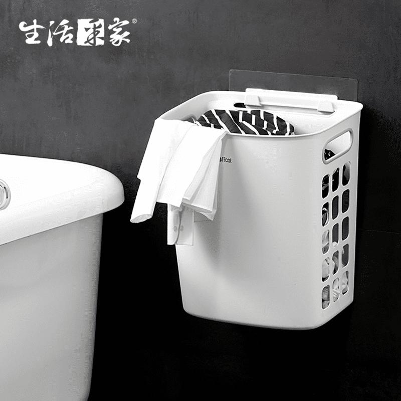【生活采家】浴室強力無痕貼換洗衣物髒衣籃