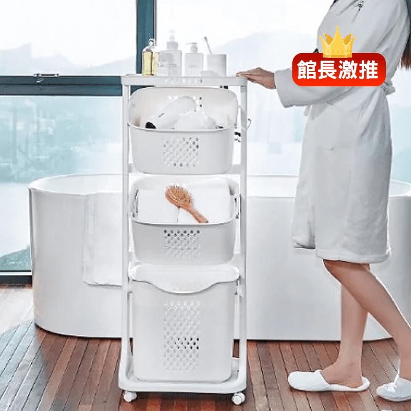 【ANDYMAY2】兩層炫彩多功能帶輪洗衣籃AM-Q502-1/AM-Q502/