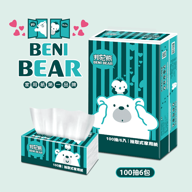 BeniBear邦尼熊復古Tiffany藍條紋抽取衛生紙