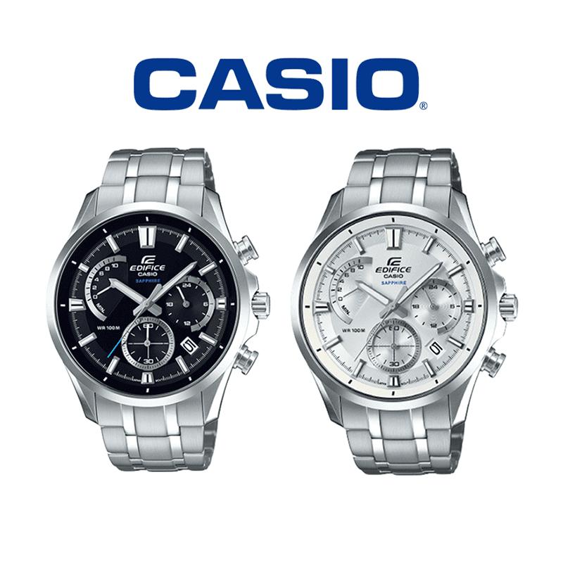 【CASIO】卡西歐EDIFICE大錶徑三眼計時鋼帶錶-黑(EFB-550D-1