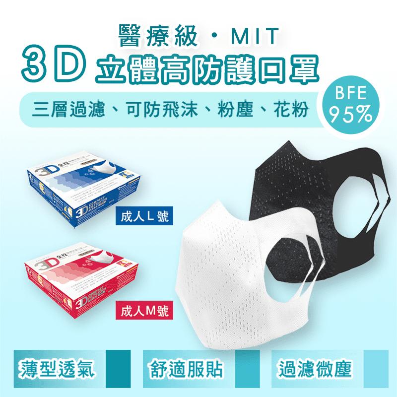 全程醫療級防護立體口罩 30片/盒  M/L