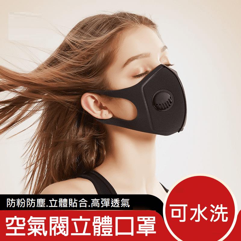 可水洗空氣閥立體口罩-黑