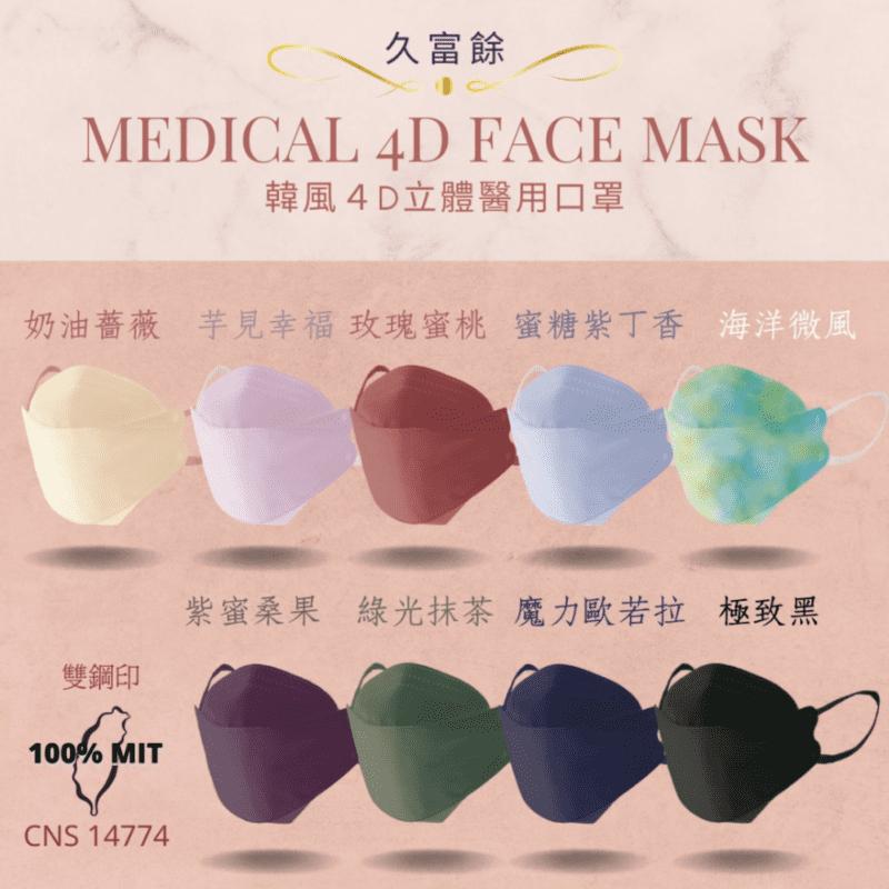 久富餘 KF94韓版4層雙鋼印立體醫療口罩(10片盒)