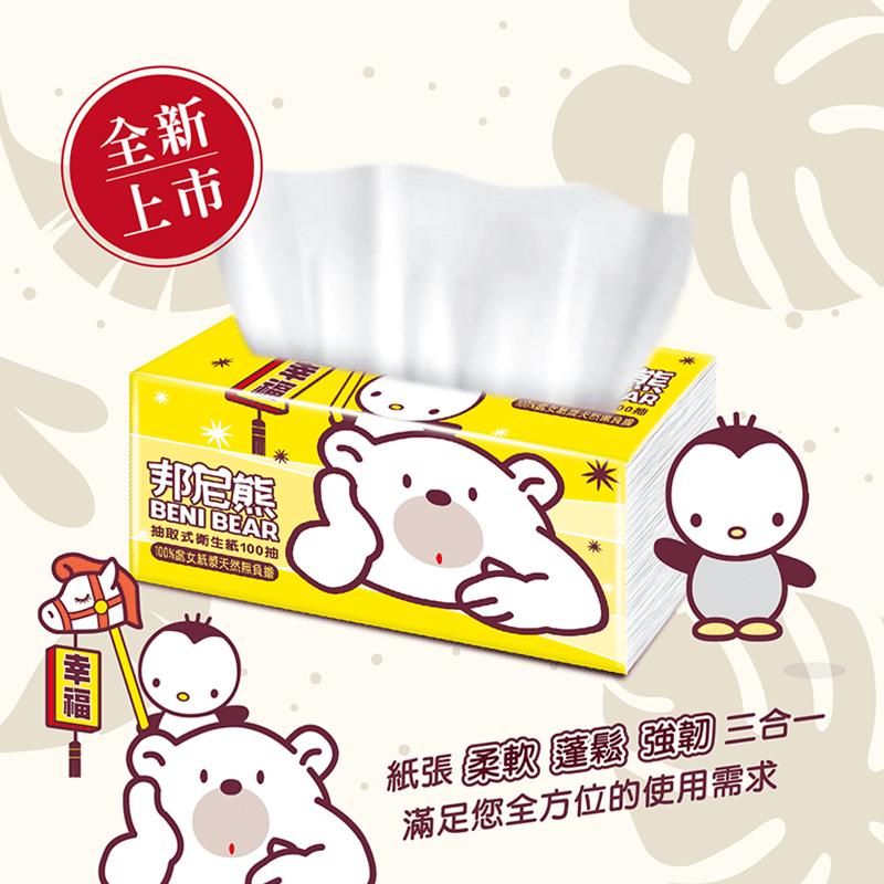 【Benibear 邦尼熊】抽取式衛生紙(100抽12包6袋)