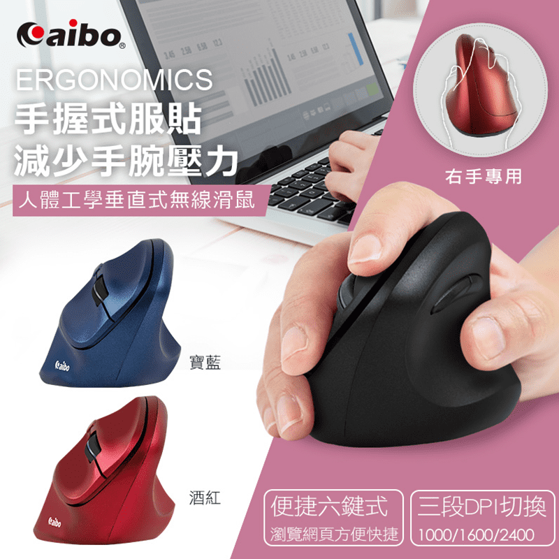 【aibo】LY-ENMSVE01人體工學垂直式 2.4G無線直立滑鼠(3段DP