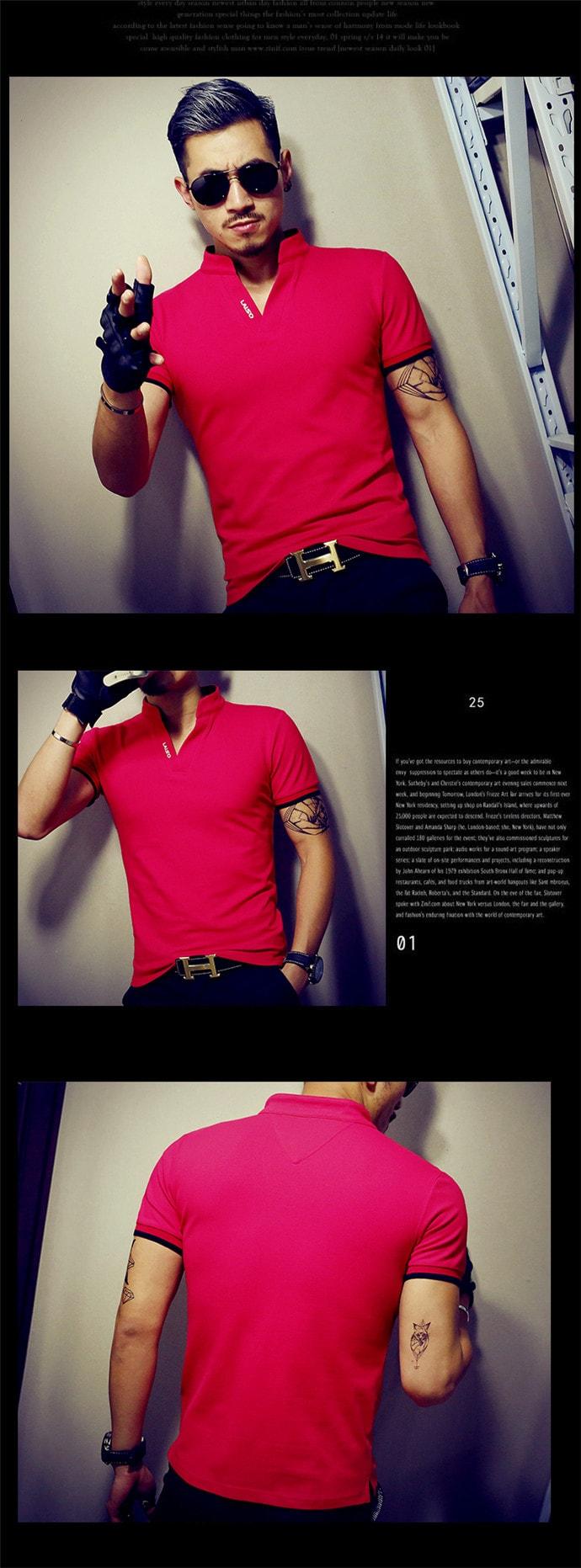 【曼曼寶貝 日韓潮流服飾館】時尚小立領POLO上衣可當情侶裝~195款~全館現貨